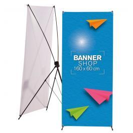 Banner X Lona 380g 60x160cm Impressão Colorida  com Suporte Plástico Desmontável