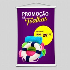 Banner Lona Impressa Tamanho Padrão   Madeira, Ponteiras e Cordinha
