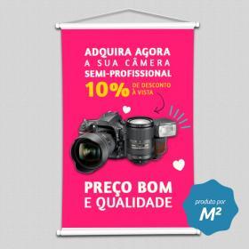 Banner Lona Impressa Tamanho Personalizado   Madeira, Ponteiras e Cordinha