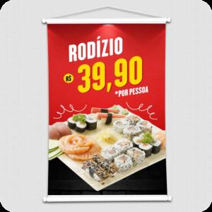 Banners Lona Impressa  Impressão Colorida  Madeira, Ponteira e Cordão
