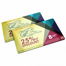 Cartão Desconto / Voucher Couchê 250g 9x5cm Impressão Colorida Verniz Total Brilho 4 Cantos Arredondados