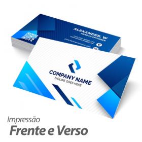 Cartão de Visita Couchê 250g 9x5cm Impressão Frente e Verso ( 4x4 ) com Verniz Brilho Corte Reto