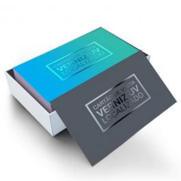 Cartão de visita Couchê 250g 9x5cm Impressão Colorida Laminação Fosca e Verniz Localizado Corte Reto