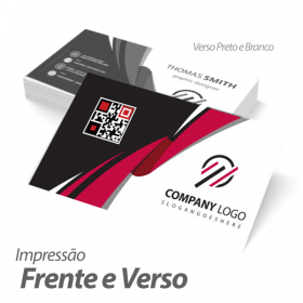 Cartão de Visita Couchê 250g 9x5cm Impressão Frente e Verso ( 4x1 ) com Verniz Brilho Corte Reto