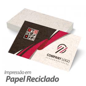 Cartão de Visita Reciclato 240g 9x5cm Impressão Colorida (só Frente) sem Verniz Corte Reto
