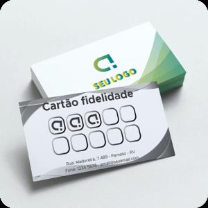 Cartão Fidelidade Papel Couchê 250g 9x5cm  Verniz Total Frente Corte Reto