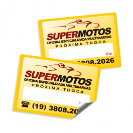 Etiqueta Adesiva Troca de Óleo para Motos Adesivo Plástico 5 x 3,5cm Impressão Colorida  Corte Reto