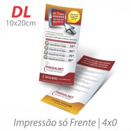 Flyers / Folhetos Couchê 90g 10x20cm (DL) Impressão Colorida  Corte Reto