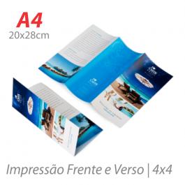 Flyers / Folhetos Couchê 90g 20x28cm (A4) Impressão Colorida  Corte Reto