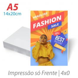 Flyers / Folhetos Couchê 90g 14x20cm (A5) Impressão Colorida só Frente ( 4x0 ) Sem verniz Corte Reto