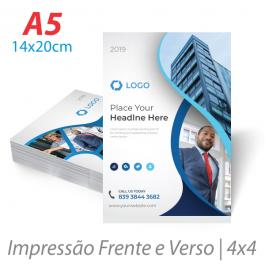 Flyers / Folhetos Couchê 90g 14x20cm (A5) Impressão Colorida Frente e Verso ( 4x4 ) Sem verniz Corte Reto
